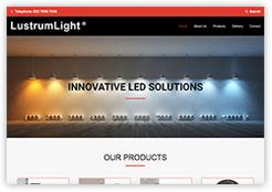 Front end of Lustrum Light website